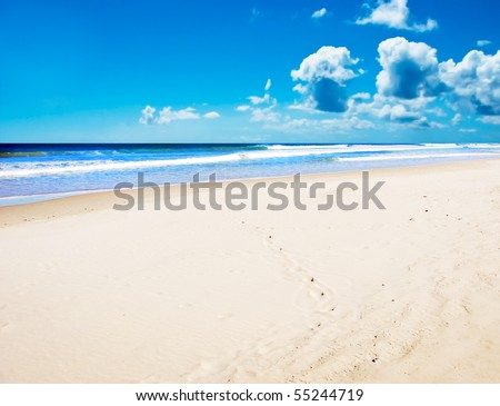 Open beach on a tropical island - stock photo