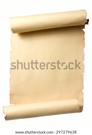 Open beige ancient scroll with blank space for text