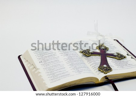Open Bible and Cross - stock photo