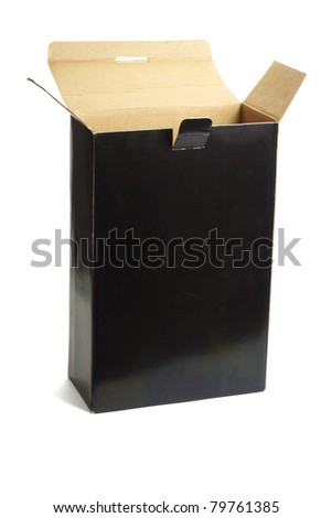 Open black empty paper box standing on white background - stock photo