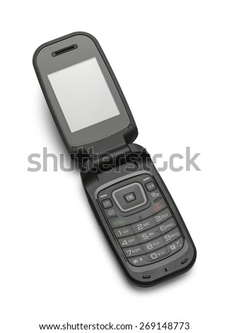 Open Black Flip Cell Phone Isolated on a White Background.