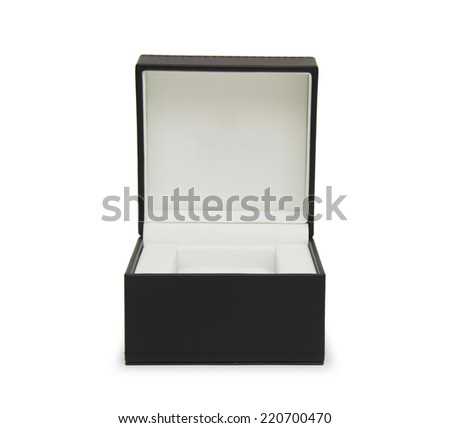 Open black gift box isolated on white  - stock photo