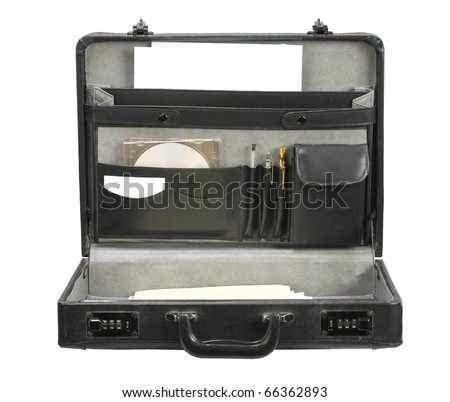 Open Black leather briefcase isolated on white - stock photo