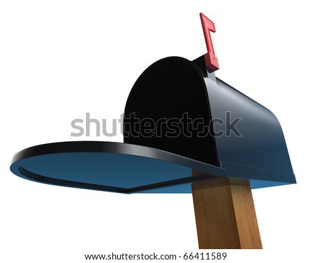 Open black mailbox on wooden post with red flag up.