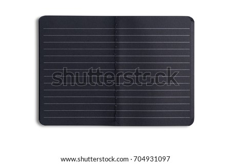 Open black notebook isolated on white background.With clipping path and no shadow.