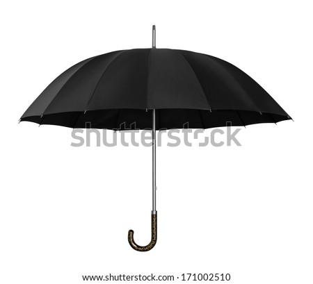 Open black umbrella isolated on white