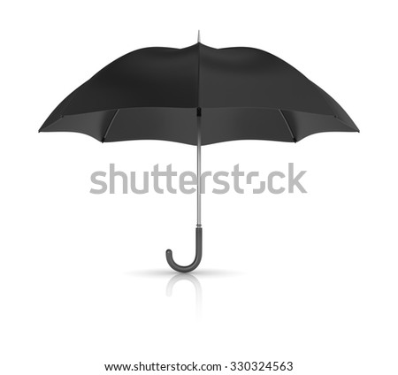 Open Black Umbrella Isolated on White Background - High Quality 3D Render