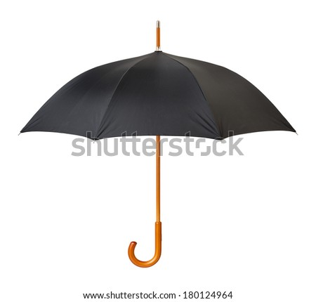Open Black Umbrella isolated on white with a clipping path.