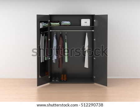Open Black Wardrobe With Mirror Isolated Against The White Wall In Bright Interior 3d Render