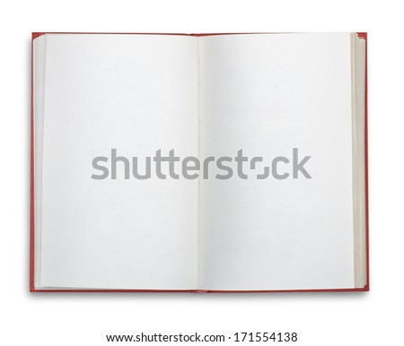 Open blank book isolated on white - stock photo
