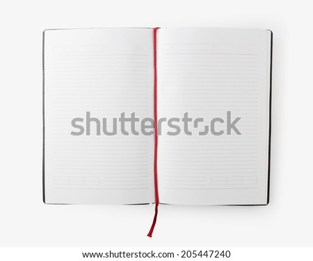 Open blank book with lines, red bookmark on white background - stock photo