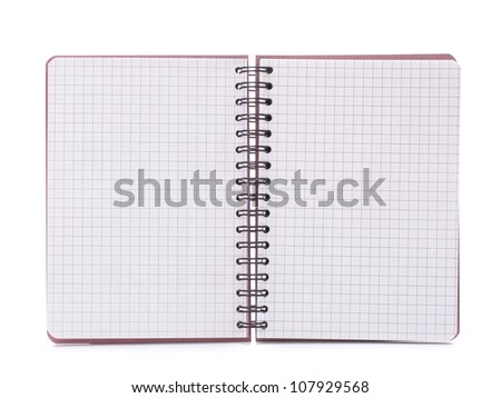 Open blank checked notebook isolated on white background cutout - stock photo