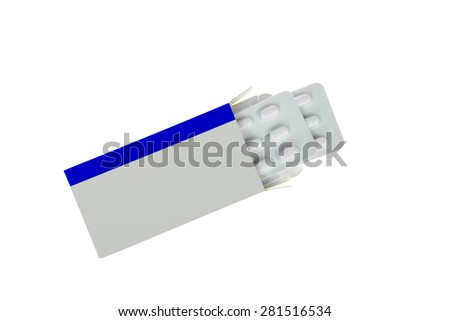 Open  blank label  medicine packet with blister pills pack ,isolated on white - stock photo