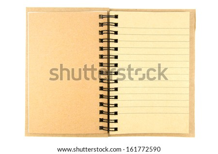 Open blank note book isolated on white background