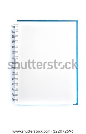 Open blank note book on white background