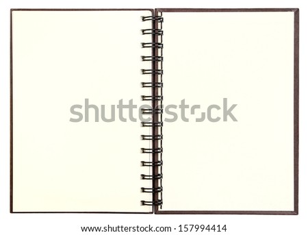 Open blank note book with clipping path