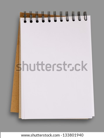 Open blank notebook isolated on gray background, clipping path.