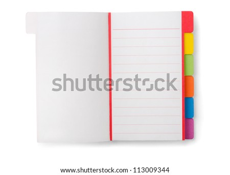 Open blank notebook isolated on white - stock photo