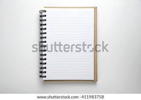 Open Blank Page notebook on desk white - stock photo