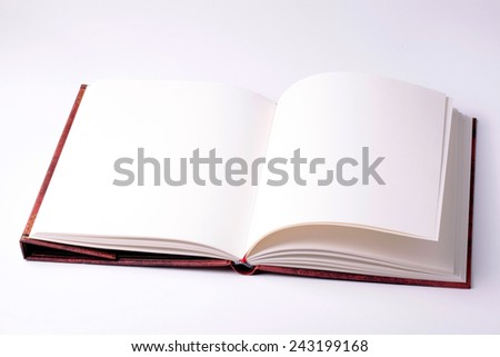 open blank paper note book on white background