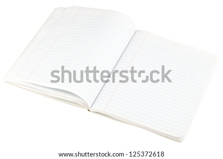 Open blank paper notebook with lined pages isolated on white background - stock photo