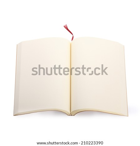 open blank paper page in notebook isolated - stock photo