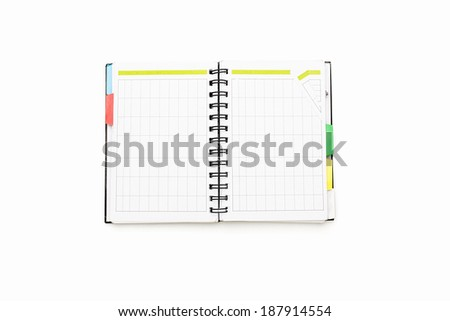 open blank personal organizer with binder, isolated on white. - stock photo