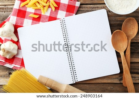 Open blank recipe book - stock photo