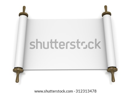 Open Blank Scroll on White Background 3D Illustration - stock photo