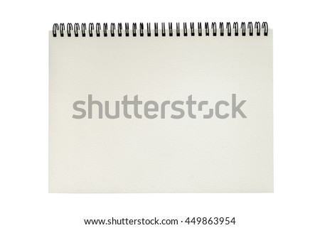 Open blank sketchbook isolated on white background