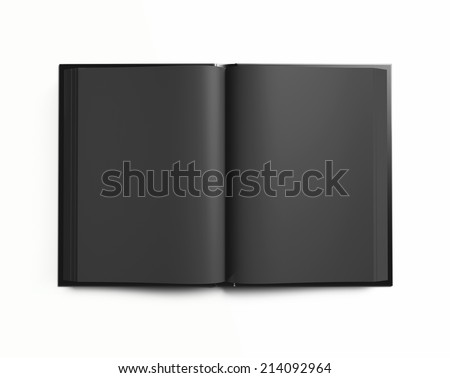 Open blank textbook with black pages isolated on white