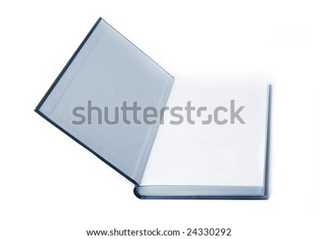 open blue book on a white background - stock photo