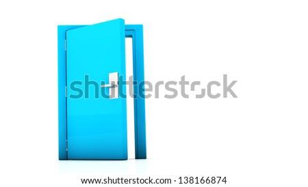 Open blue door on white background - stock photo