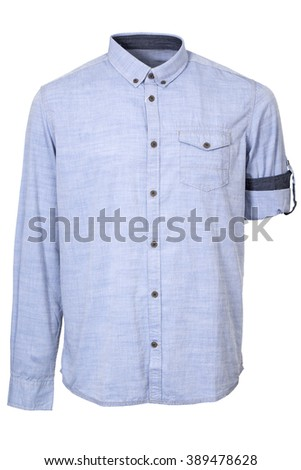 Open blue male shirt