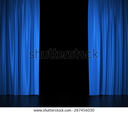 Open blue silk curtains for theater and cinema with a white background. 3d illustration High resolution - stock photo