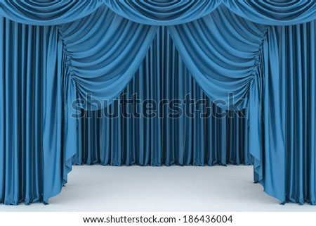 Open blue theater curtain, background - stock photo