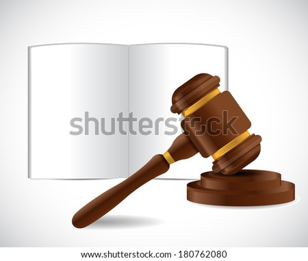 open book and a law hammer illustration design over a white background - stock photo
