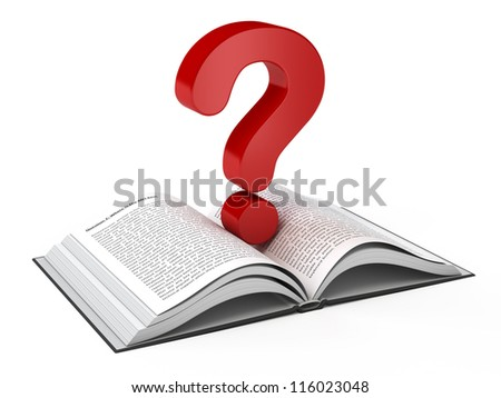 Open book and a question mark - stock photo