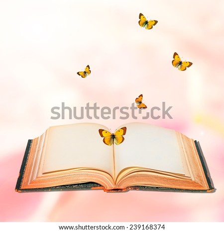 Open book and butterflies textured abstract background