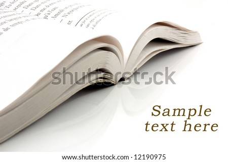 Open Book and copy space for sample text here - stock photo