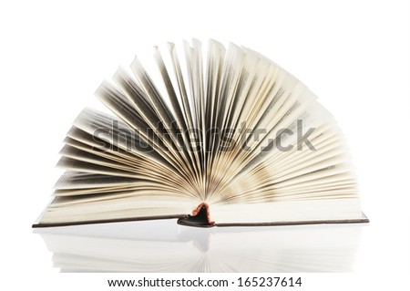 Open book and reflection - stock photo