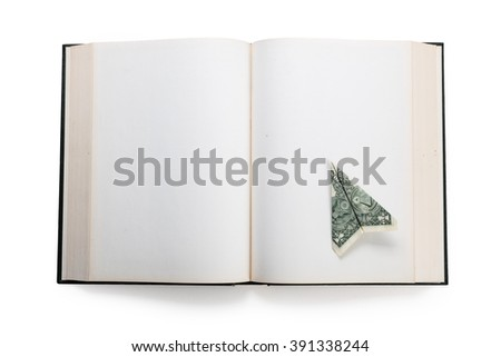 open book and us dollar,  concept of business success - stock photo