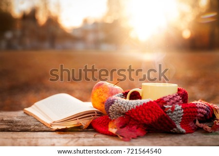 Open book, apple and yellow tea mug with warm scarf on wooden surface