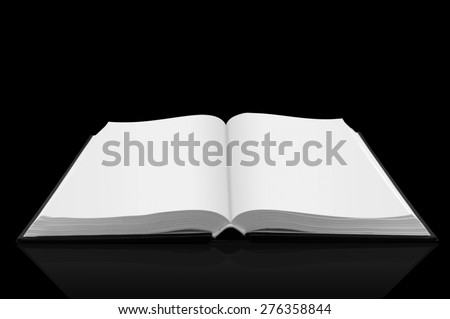Open book bible on black background with shadow - stock photo