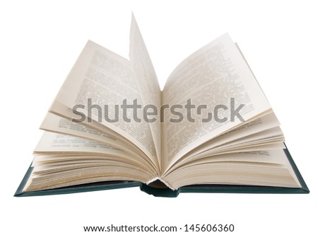 Open book closeup isolated on white background - stock photo