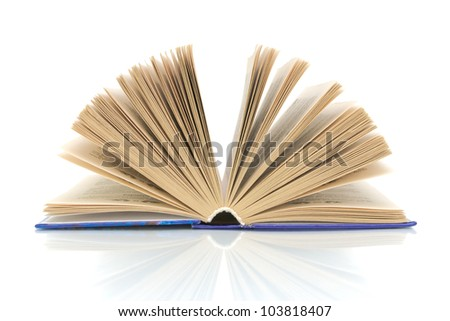 open book closeup on a white background with reflection