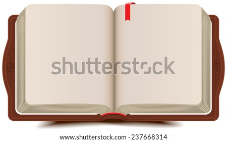 Open book diary with bookmark - stock photo