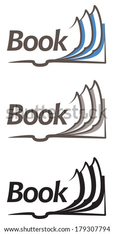 Open book icon. Rasterized copy .Vector version of this image can also be found in portfolio. - stock photo