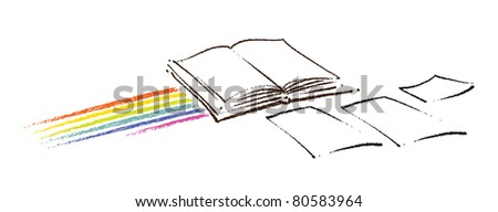 Open book icon (with a rainbow and a few blank sheets of paper, artistic painterly style)  (raster version) - stock photo