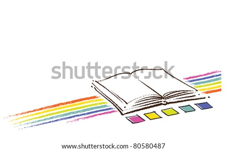 Open book icon (with a rainbow and color swatches, artistic painterly style)  (raster version) - stock photo